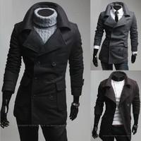 New lapel Slim woolen coat menswear autumn and winter men's double-breasted overcoat 125036
