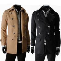 New casual men windbreaker coat Hot double-breasted lapel outerwear 125045