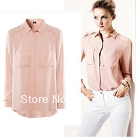 Free Shipping 2013 New Women Chiffon Shirts Black/White/Pink Sparking Rivets Two Pockets Blouse Loose Long Sleeve Women Tops h8