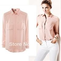 Free Shipping 2013 New Women Chiffon Shirts Black/White/Pink Sparking Rivets Two Pockets Blouse Loose Long Sleeve Women Tops h8