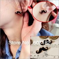 Cosplay Mustache Stud Earrings Beard Stud Top Fashionable Earrings 48pair/lot Free Shipping