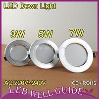 1pcs 5W LED downlights 5730SMD AC220V 240V ceiling light warm white cold white