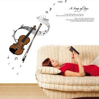 free shipping music removable  PVC waterproof wall sticker violin 50*70 cm home decorative paper