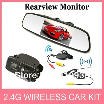 "2.4G Wireless car kit 4.3"" TFT LCD mirror monitor+car rear view camera special reverse backup  for TOYOTA COROLLA VIOS"