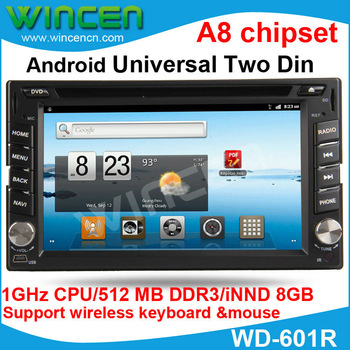 New!!! 1080P pure Android Car DVD for  Universal Two 2 Din 512MB memory 8GB storge Space 1GHz Support wireless mouse