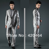 Free Shipping New Design Wholesale Fashion Men Wedding Suit Slim Fit Wool Material Shiny