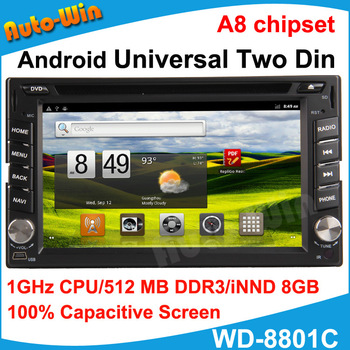 New 1080P Pure Android 2 Din Car DVD Player Capacitive Screen With 512MB Memory 8GB Storge 1GHz Support Wireless Mouse
