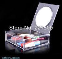 Free shipping Cosmetics storage box dermoprotector storage box jewelry box mirror desktop princess