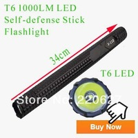 PAISEN 1000LM CREE XML T6 LED Flashlight Torch Self-defense Stick Flashlight Shcoker Security Handlight Drop Shipping