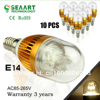 Promotion!! 10 Pcs/Lot E14 3W 220V  Warm White/White 220 - 250LM LED Candle Light Blub Lamp Super Bright Save Power