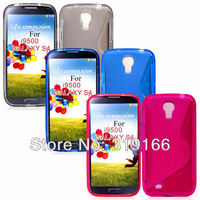 Lowest ! Soft TPU Gel Case For i9500 , S Line Wave Case For Samsung GALAXY sIV S4 i9500, 100pcs cases+100pcs sceen films