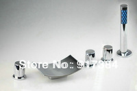 Deck Mounted Bathtub Sink With Shower Mixer Tap Chrome Faucet 5Pcs Set QW-11165