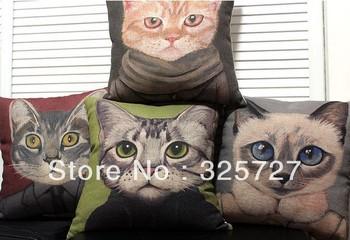 Wholesale! Free Shipping  4PCS cartoon cat pillow IKEA simple cotton sofa cushions pillow car cushion 45CM X45CM