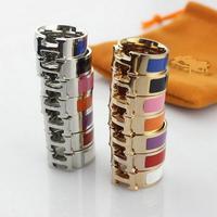 titanium steel 18K rose gold titanium jewelry multicolor ceramic top version Couple Ring