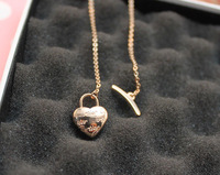 Titanium accessories lock love shaped therm necklace rose gold 14k female necklace