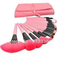Free Shiping Hot Professional 24PCS Cosmetic Makeup Brush Set Make up Kit Pink