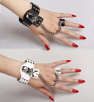 2013 Lucky Brand Jewelry Charm Leather Bracelets With Rings Skulls Punk Riverts Slave Bracelet Unisex for Men & Women