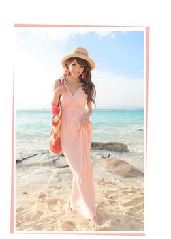 2013 European mercerized cotton summer show thin v-neck Bohemian dress, big size plus size beach dress,floor-length dress