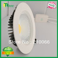 Free shipping(6 pieces/lot)12W AC80~240V warm& white Dimmable COB LED Downlight with Pure aluminium die casting LED lamp