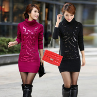 2013 new  turtleneck sweater long sequined shirt thick sweater