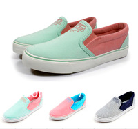Free shopping new 2014 Fashion women's low color block decoration shallow mouth foot wrapping casual lazy canvas shoes