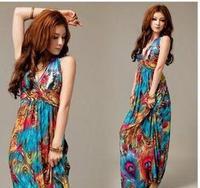 Free shipping 2013 new fashion ladies Bohemian Oil on Halter dress super beautiful beach dress V-Neck Dress J28 8638