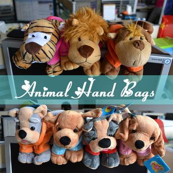 Cute Soft Pet Animal Shaped HandBags Lovely Gifts Small Cartoon Plush Casual Animal Hand Bags Tote 20pcs/lot