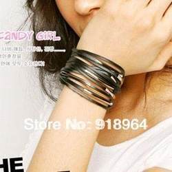 D022 Fashion Jewelry Punk Women Men Silver Ally Ring Weave Buckle Black White Pink Multi Layer PU leather Charm Chain Bracelets(China (Mainland))