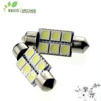 Free shipping 10pcs 36mm 6 SMD 5050 White festoon Light bulbs 36mm led car lamp