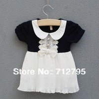 Summer 2013 baby girls' small lapel embroidered bow chiffon one-piece dress