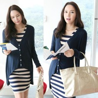 2014 new spring autumn maternity clothing elegant stripe cotton dress+cardigan  twinset for pregnant women pregnancy clothes