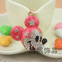 2015 Chaveiros Llaveros Trinket Keyring Fashion Jewelry Mouse Car Keychain Women Crystal Lovely Animal 18k Plated Cartoon Gift