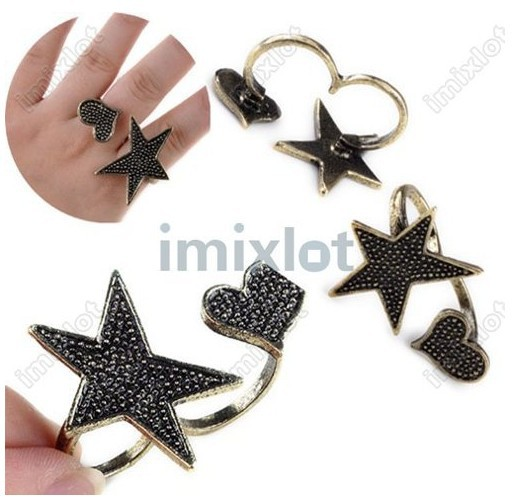 FREE SHIP NEW Vintage Retro Punk Fashion Heart Star Shape Bronze Double Finger Rings 12pcs/lot(China (Mainland))