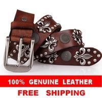 100% Genuine Leather New 2014 Vintage Punk Men's Belt  Retro Rivet Belts For Man Hip hop Cowboy Jeans Brand Straps Cinto TBT0060