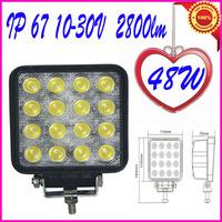 IP67 48W Work Light Spot Beam LED WORK OFFROADS LAMP LIGHT TRUCK BOAT 12V 24V 4WD 4x4 Driving Lights Spotlights tractor offroad