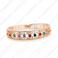 Multicolour Crystal 18K K Gold Plated Bangle Jewelry Made with Genuine SWA Elements Austrian Crystals Wholesale Bangle B065R2