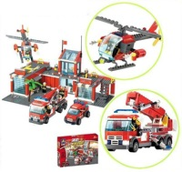 Christmas gift Enlighten Child 8051 Educational firefighter Car KAZI Assembles Particles Block Toys,children toys free Shipping