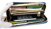 Long design wallet sheepskin horizontal genuine leather horsehair women's solid color pattern zipper wallet card case 1109