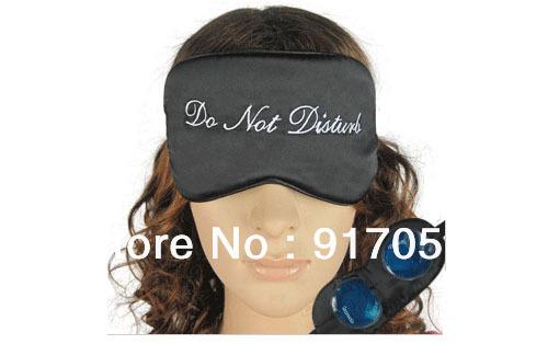 "Free shipping Novelty ""Do not disturb"" pattern silk eye shade,AdjustableTravel sleep Eye mask with 2 GEL cold/hot compress(China (Mainland))"