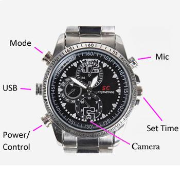 8GB Waterproof Watch 1280X960 Hidden Digital Video Camera Gadgets Camcorders Sliver with Box