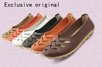 Free shipping flat heel  mother soft outsole shoes single shoes second layer cowhide of quinquagenarian female casual shoes