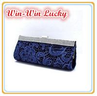 New Bride Handbag. Banquet Diamond Lace Embroidery Women Clutch Purse Long And Short Chain Messenger Tote Evening Bag Multicolor