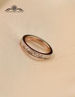 Free Shipping Sparkling 18k Rose Gold Full Rhinestone Ring Female Finger Ring Color Gold Ring Engagement Ring Gift