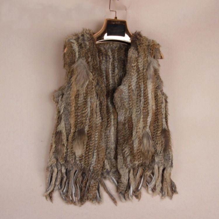 Knit knitted handmade Rabbit fur vest gilet sleeveless garment waistcoat 2 color(China (Mainland))