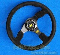 14inch OMP Flat Leather Steering Wheel, Racing Steering Wheel black aluminium