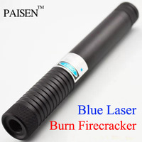 Hot 445nm 3W 3000mw High power burning Blue Laser Pointer Torch Pen Waterproof flashlight with 5 star head Free Shipping