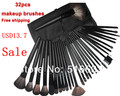 Big Discount ! 32 pcs Cosmetic Facial Make up Brush Kit Makeup Brushes Tools Set + Black Leather Case wholesale price freeship(China (Mainland))