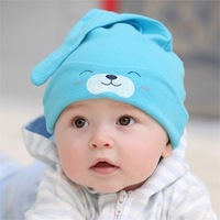 2014 New Fashion Baby Caps Infant sleeping caps 100% cotton Taper Hats Kids Lovely Little Bear Hat For 3-24 Months Free Shipping