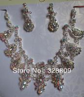 fashion AB Color rhinestone bridal jewelry sets free shipping
