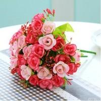 Artificial silk rose flower bouquet ,artificial wedding bouquet , silk flowers for home decoration